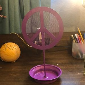 Purple peace sign earring holder